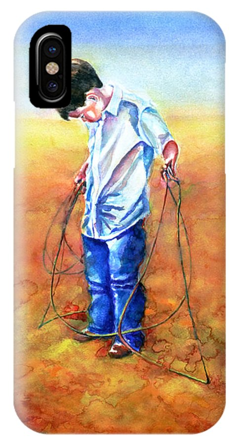 Child IPhone X Case featuring the painting The Roping Lesson by Shannon Grissom
