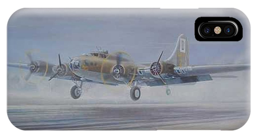 The Only Survivor Of The 100th Bomb Group On The October 10 IPhone X / XS Case featuring the painting The Royal Flush Comes Home by Scott Robertson