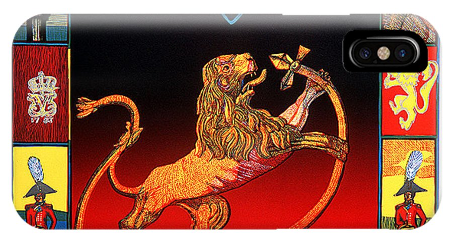 Historic IPhone X / XS Case featuring the mixed media The Royal Norwegian Lion by Jarle Rosseland