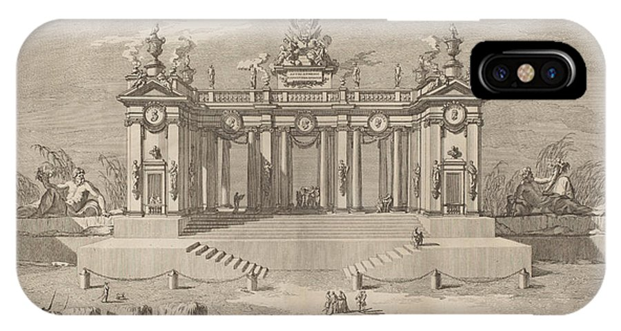 "IPhone X Case featuring the drawing The School Of Athens Arcades, For The ""chinea"" Festival by Giuseppe Pozzi After Giuseppe Palazzi (designer) And Paolo Posi (architect)"