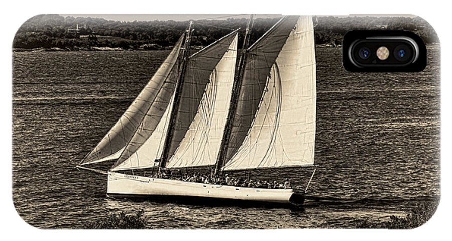 Schooner IPhone X Case featuring the photograph The Schooner Adirondack II Antiqued by Gary Nelson