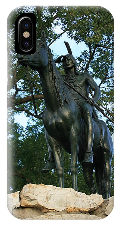 Statue IPhone X Case featuring the photograph The Scout Kansas City Missouri by David Dunham