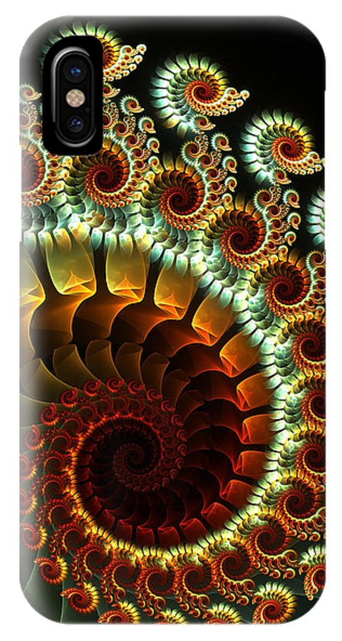 Fractal IPhone X Case featuring the digital art The Seahorse Swing by Amorina Ashton