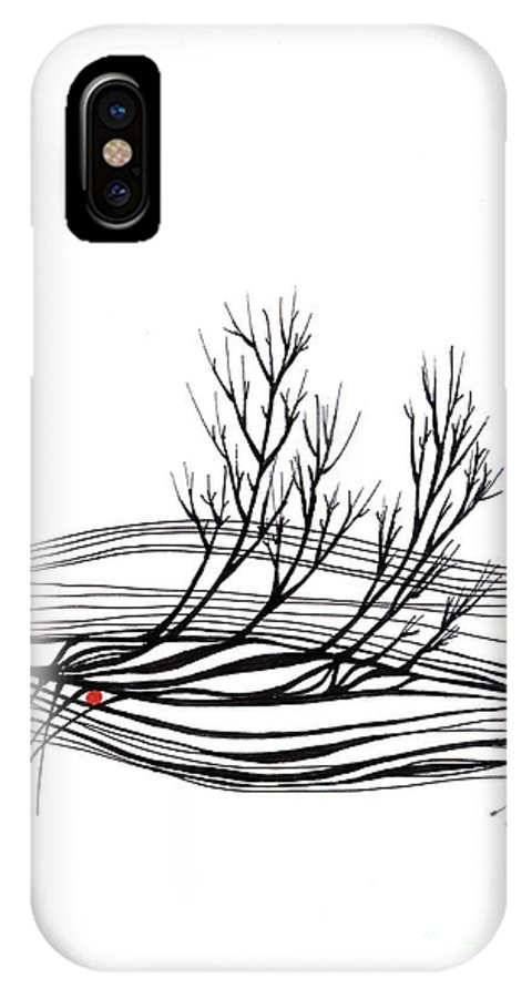 Trees IPhone X Case featuring the drawing The seed by Aniko Hencz
