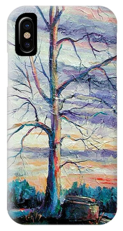 Lone Tree IPhone Case featuring the painting The Sentinel by Ginger Concepcion