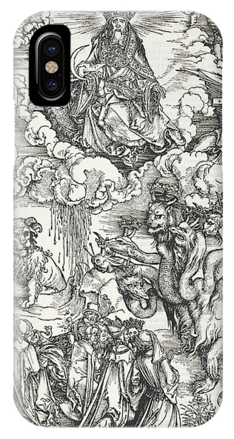 Albrecht Durer IPhone X Case featuring the relief The Seven-headed Beast And The Beast With Lamb's Horns by Albrecht Durer
