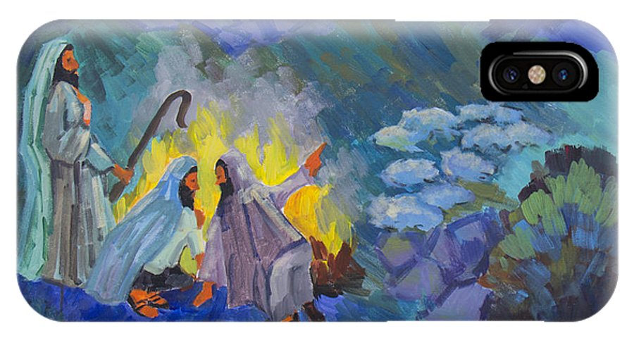 Christmas IPhone X Case featuring the painting The Shepherds by Diane McClary