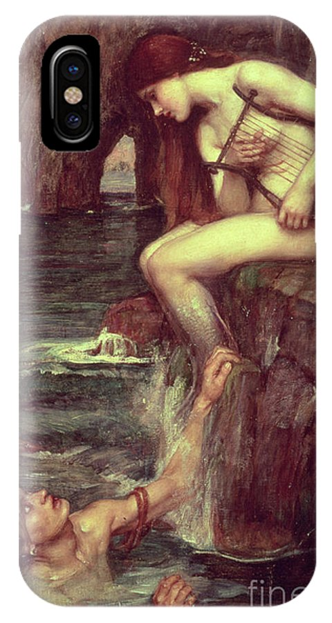 The Siren IPhone X Case featuring the painting The Siren by John William Waterhouse