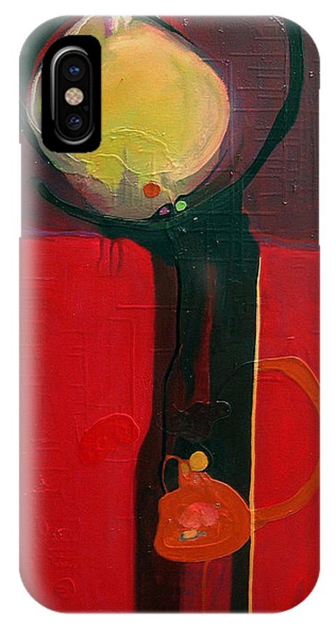 Abstract IPhone X Case featuring the painting The Skinny by Marlene Burns