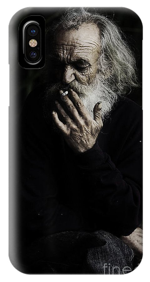 Homeless Male Smoking Smoker Aged IPhone X Case featuring the photograph The Smoker by Sheila Smart Fine Art Photography