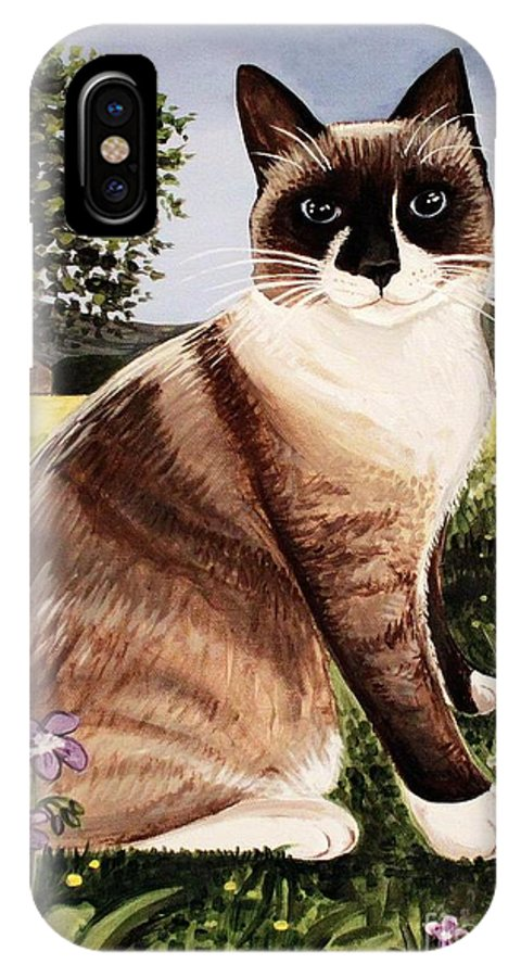 Pet Portrait IPhone X Case featuring the painting The Snowshoe Cat by Elizabeth Robinette Tyndall