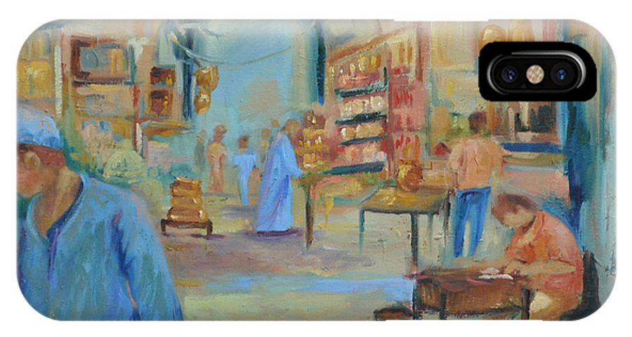 Figurative IPhone X Case featuring the painting The Souk by Ginger Concepcion
