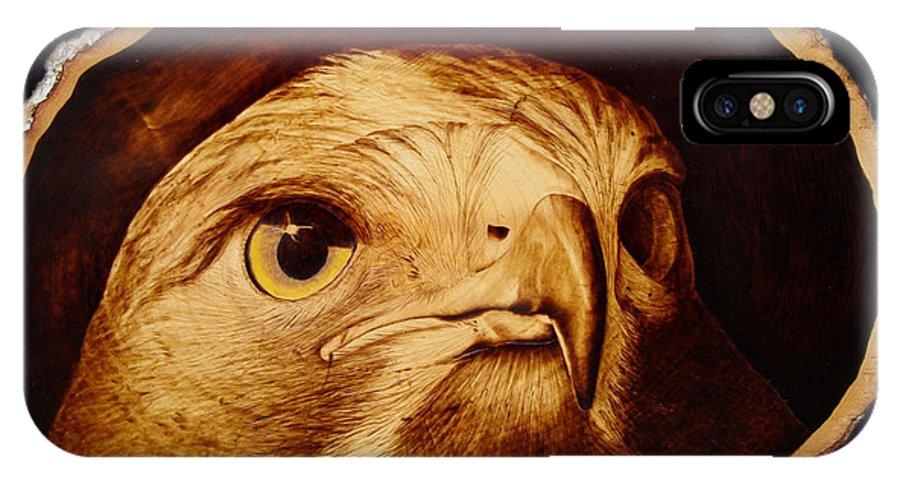 Woodburning; Pyrogrography; Sepia; Hawk; Bird Of Prey; Nature; Bird; Beak; Talon IPhone X Case featuring the pyrography The Spotter by Jo Schwartz