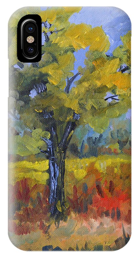 Spring IPhone X Case featuring the painting The Spring Tree by Heather Coen