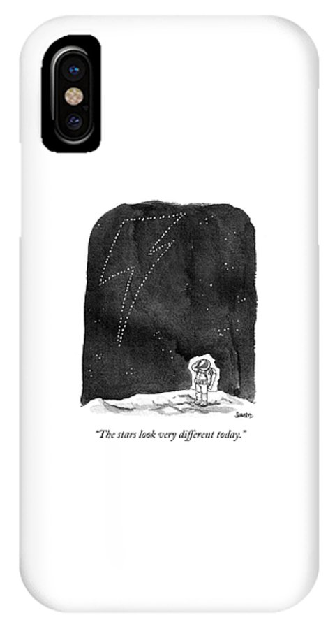 """""""the Stars Look Very Different Today."""" IPhone X Case featuring the drawing The stars look very different today by Benjamin Schwartz"""