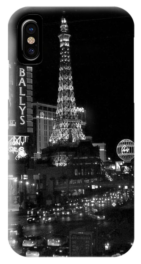 Las Vegas Strip IPhone X Case featuring the photograph The Strip By Night B-w by Anita Burgermeister