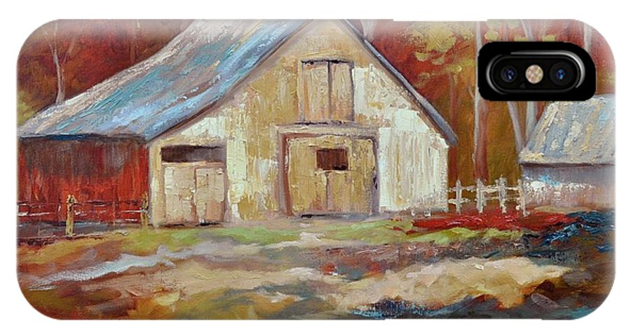 Barns IPhone X Case featuring the painting The Studio by Ginger Concepcion
