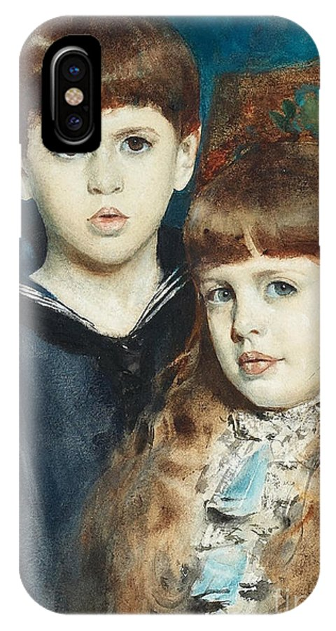 Anders Zorn IPhone X Case featuring the painting The Stuer Twins by Celestial Images