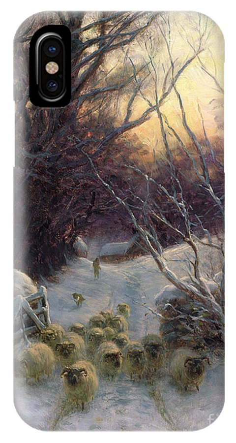 Winter IPhone X Case featuring the painting The Sun Had Closed The Winter Day by Joseph Farquharson
