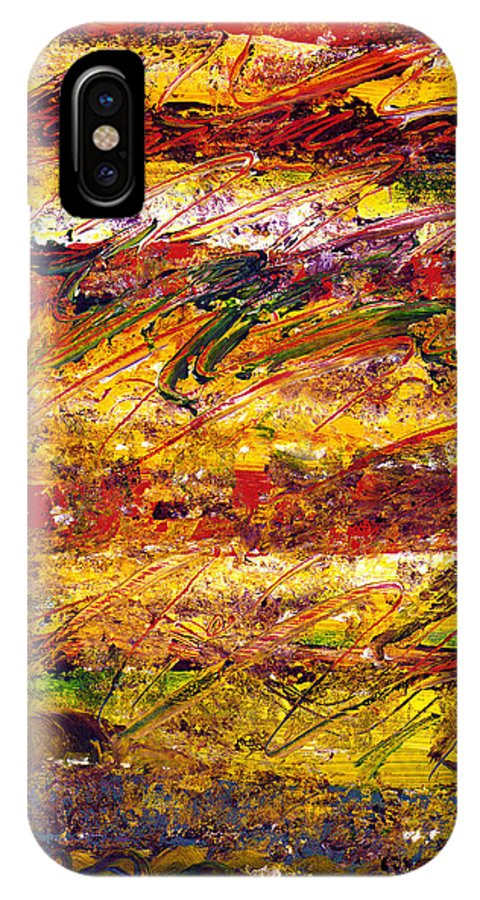 Abstract IPhone X Case featuring the painting The Sun Rose One Step At A Time by Wayne Potrafka