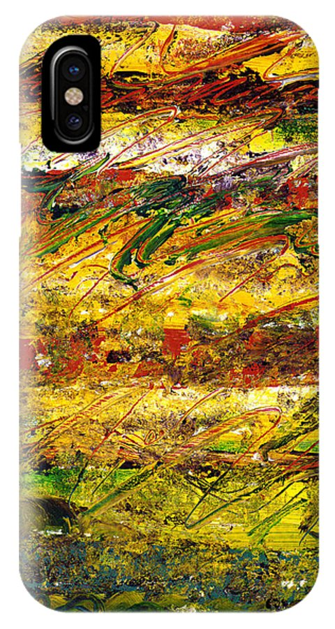 Abstract IPhone X Case featuring the painting The Sun Rose One Strip At A Time 1 by Wayne Potrafka