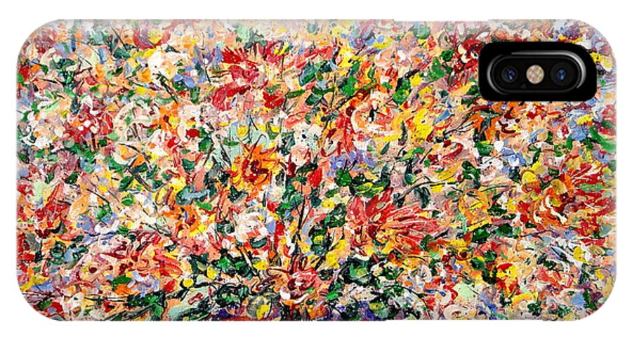 Flowers IPhone X Case featuring the painting The Sunlight Flowers by Leonard Holland