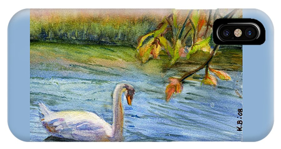 Swan IPhone X Case featuring the painting The Swan by Katherine Berlin