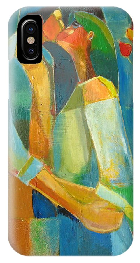Love Abstract IPhone X Case featuring the painting The Sweet Kiss by Habib Ayat