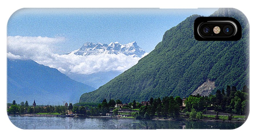 Waterscape IPhone X Case featuring the photograph The Swiss Alps Overlooking Lake Geneva by Dave Sribnik
