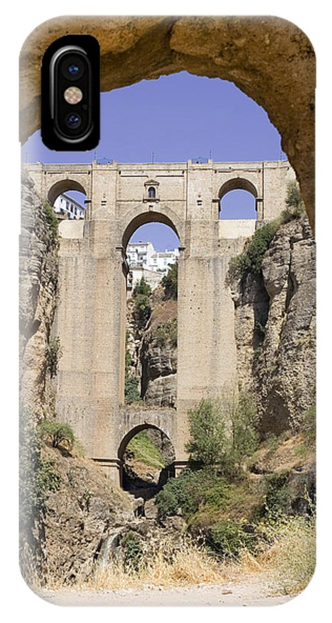 Ronda IPhone X Case featuring the photograph The Tajo De Ronda And Puente Nuevo Bridge Andalucia Spain Europe by Mal Bray