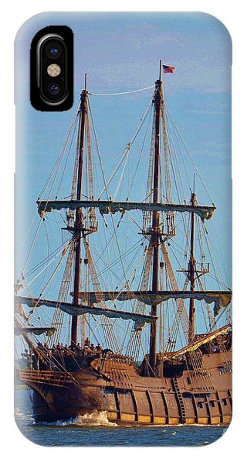 Blue IPhone X / XS Case featuring the photograph The Tall Ship El Galeon by Bob Sample