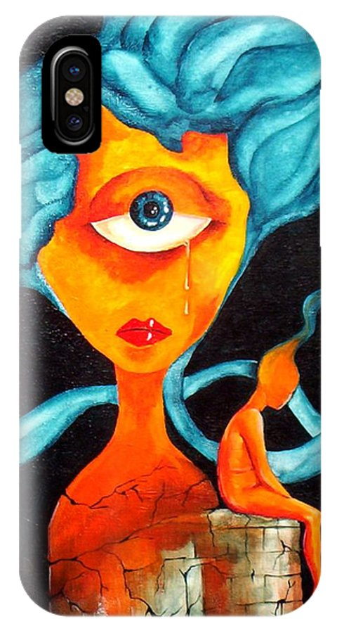 Surrealism IPhone X Case featuring the painting The tear by Veronica Jackson