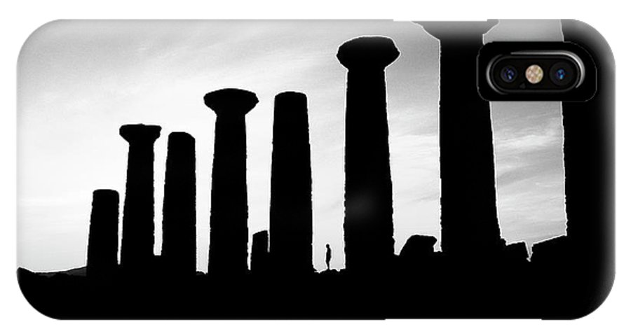 Agrigento IPhone X Case featuring the photograph The Temple Of Hercules. Agrigento, Sicily.  Black And White by David Lyons