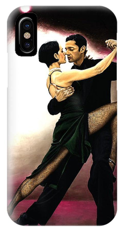 Tango IPhone X Case featuring the painting The Temptation Of Tango by Richard Young