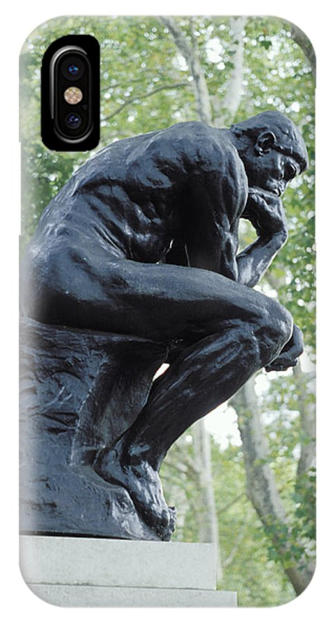 Statue IPhone X Case featuring the photograph The Thinker By Rodin by Carl Purcell
