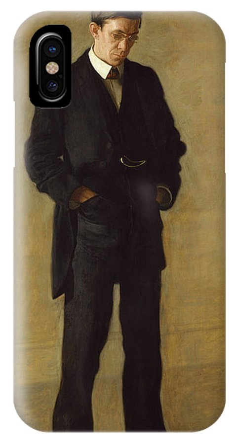 America IPhone X Case featuring the painting The Thinker, Portrait Of Louis Kenton by Thomas Eakins