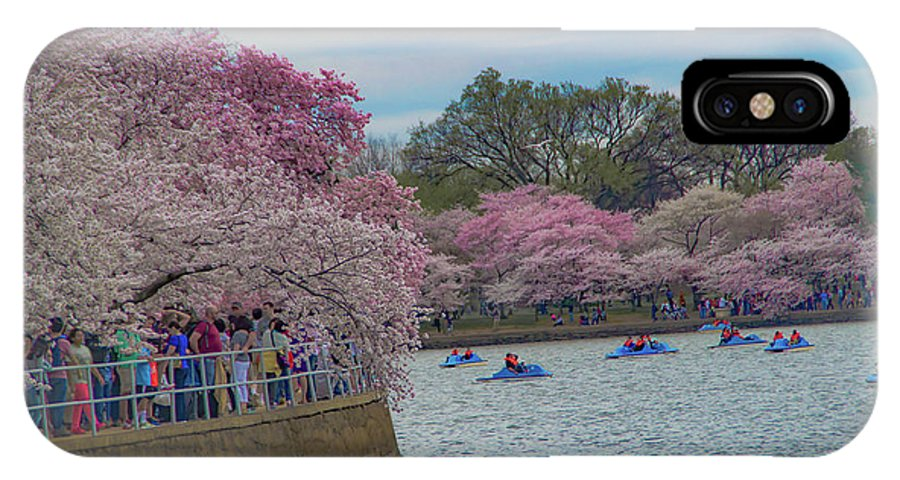 Cherry Blossom IPhone X Case featuring the photograph The Tidal Basin During The Washington D.c. Cherry Blossom Festival by Rick Grossman