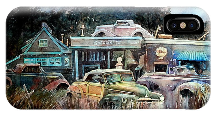 Stores Cars Trees IPhone X Case featuring the painting The Trading Post by Ron Morrison