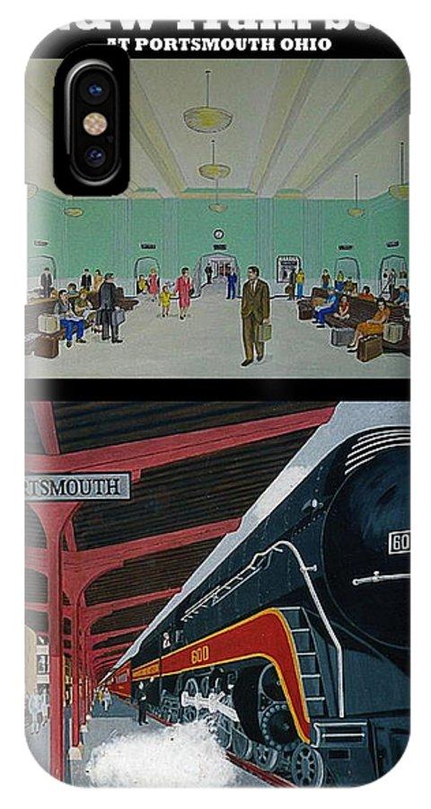 N&w Train Station Norfolk And Western Class J Powhatan Arrow Portsmouth Ohio IPhone X Case featuring the painting The Train Station At Portsmouth Ohio by Frank Hunter