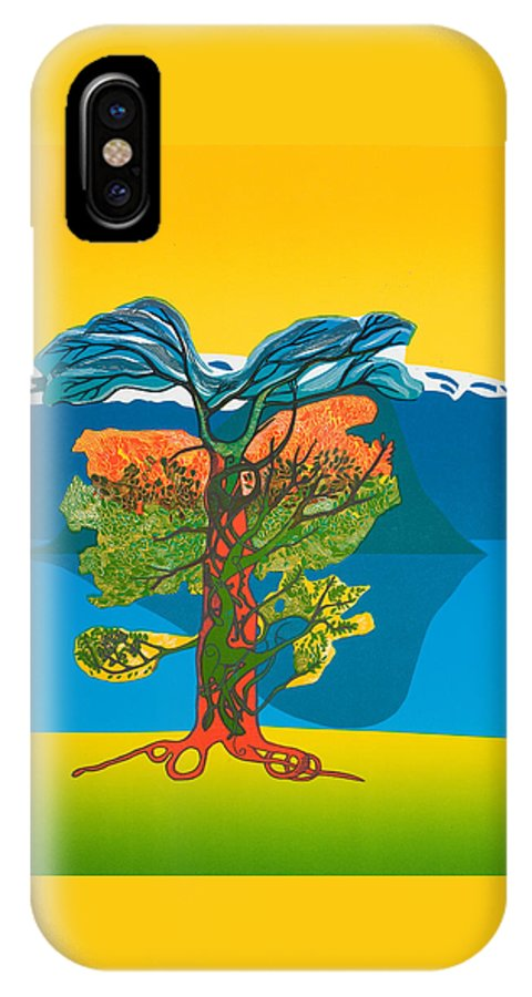 Landscape IPhone X Case featuring the mixed media The Tree Of Life. From The Viking Saga. by Jarle Rosseland