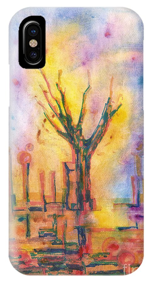 Contemporary Painting IPhone X Case featuring the painting The Tree On The Road. 19 March, 2016 by Tatiana Chernyavskaya