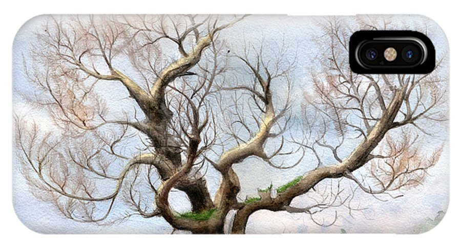 Watercolor 29.7cm X 42cm /  11.7in X 16.5in IPhone X Case featuring the painting The Tree On The Top Of The Hill by Bjorn Eek
