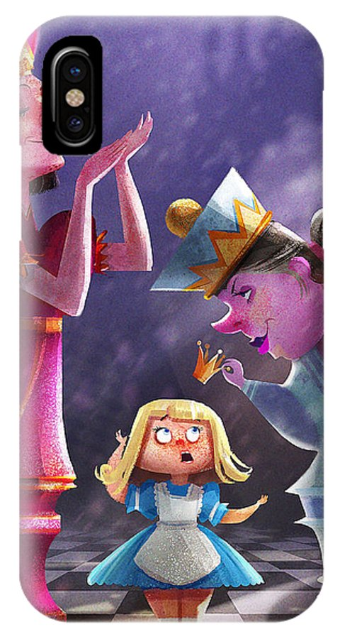 Print IPhone X Case featuring the digital art The Two Queens, Nursery Art by Kristina Vardazaryan