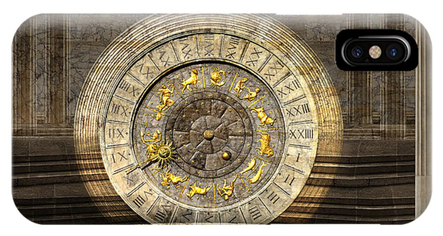 Artifact Clock Constellation Zodiac Legend Light Magic Marble Mystery Pillar Time Treasure Vault IPhone Case featuring the photograph The Vault Of Time by Desislava Draganova