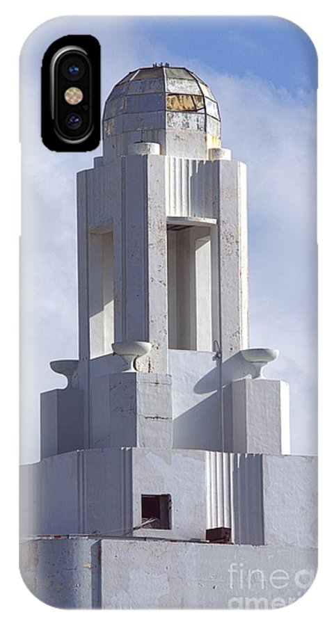 Art Deco IPhone X Case featuring the photograph The Versailles Hotel Tower - Miami Beach by Lilliana Mendez