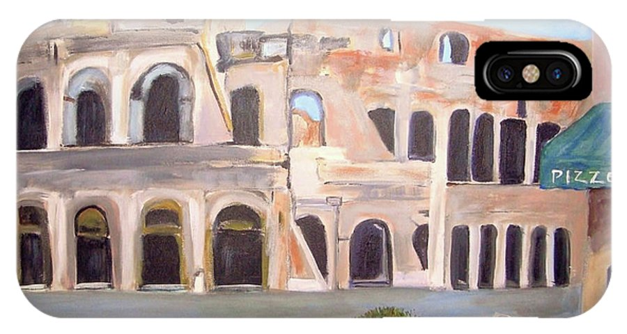 Cityscape IPhone X Case featuring the painting The View Of The Coliseum In Rome by Teresa Dominici