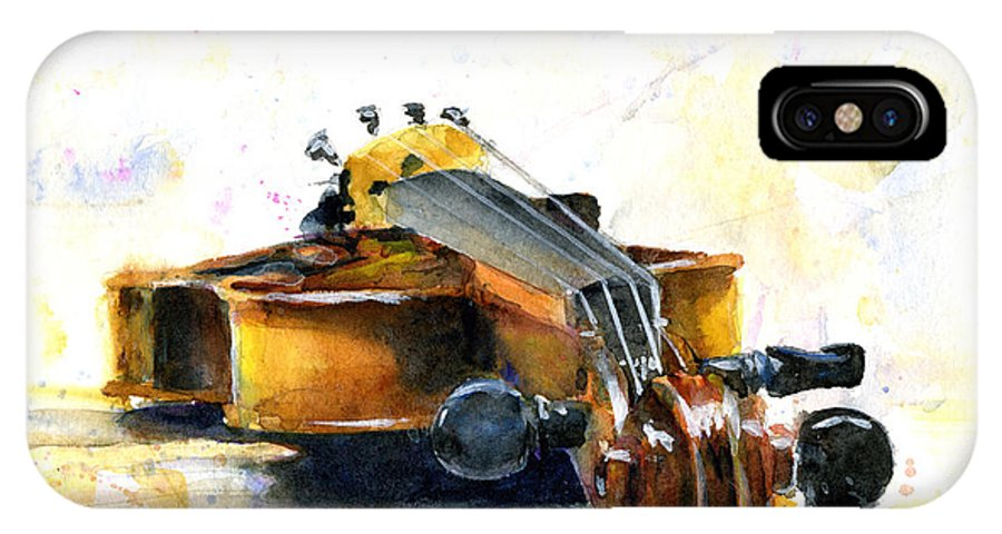 Violin. Watercolor IPhone X Case featuring the painting The Violin by John D Benson