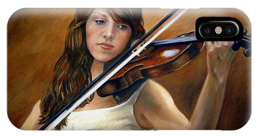Portrait IPhone Case featuring the painting The Violinist by Anne Kushnick