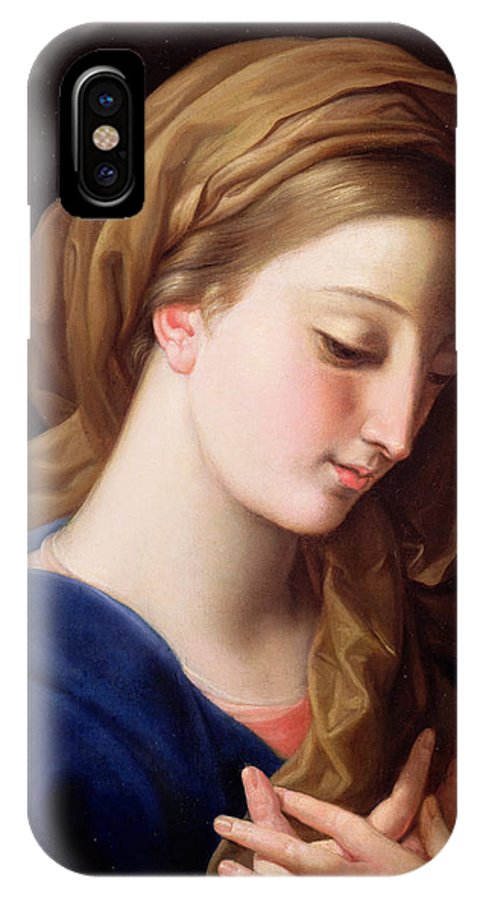 The Virgin Annunciate IPhone X Case featuring the painting The Virgin Annunciate by Pompeo Girolamo Batoni