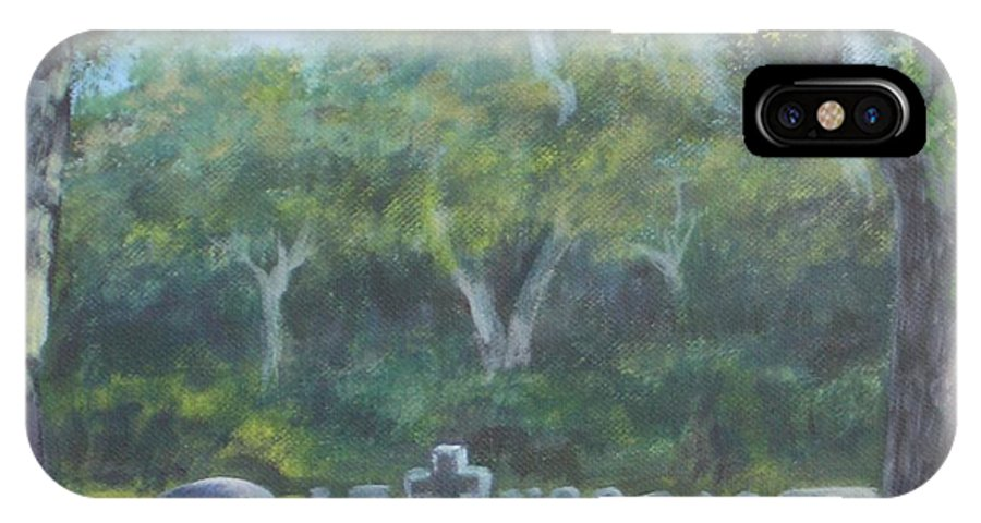 Landscape Cemetary Ghost Tree Florida Orlando Greenwood IPhone X Case featuring the painting The Visitor 75usd by Karen Bowden